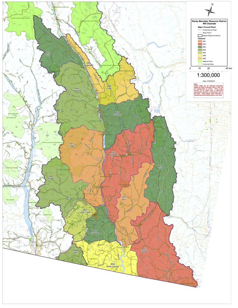 Southern BC resource road radio channels
